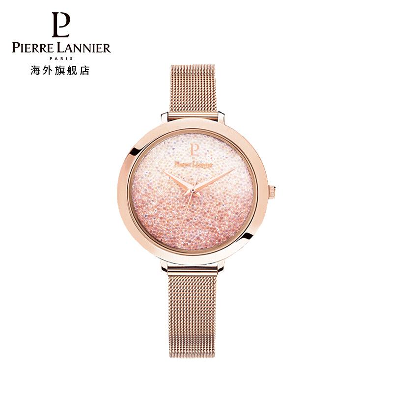 连尼亚(PIERRE LANNIER)法国进口女士满天星手表 施华洛世奇星钻系列36mm水晶表盘小众石英女表PL-097M958