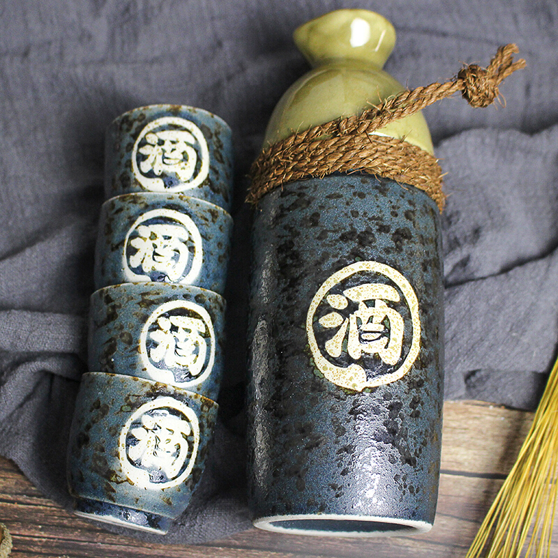 MinoYaki美浓烧日本进口手绘字(酒)(春夏秋冬)陶瓷酒具套装一壶四杯礼盒包装