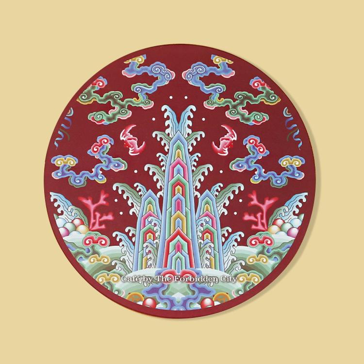 宮廷紋飾杯墊-五彩海水江崖紋飾