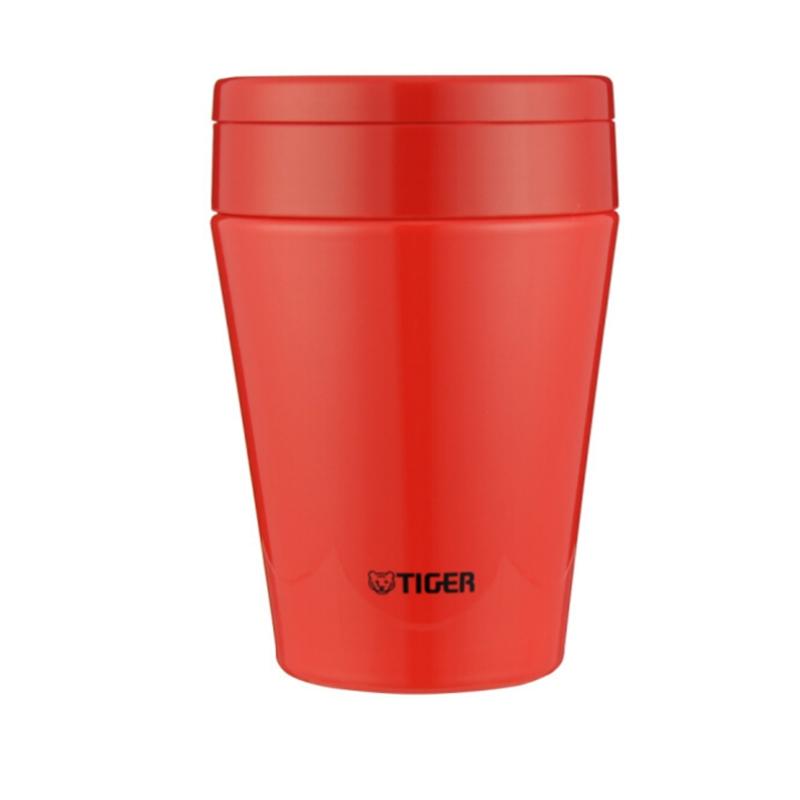 TIGER/虎牌保溫杯多功能燜燒杯真空杯不銹鋼保溫湯杯 MCC-B38C 番茄紅