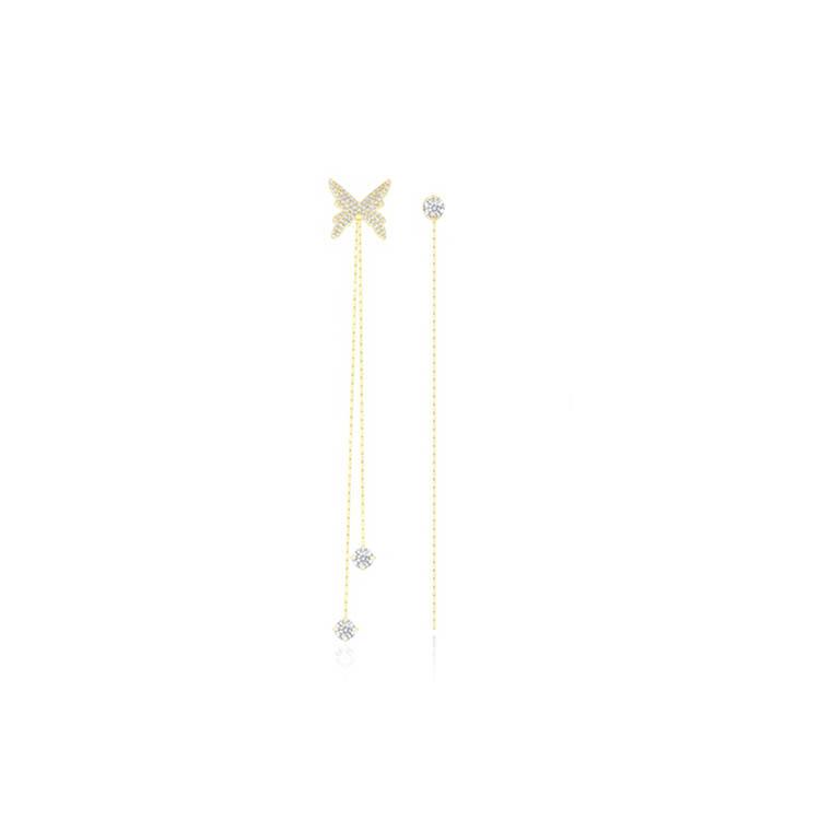 靜風格S925銀針耳環女AB款不對稱蝴蝶耳飾后綴式時尚流蘇長鏈耳釘JB200S1018