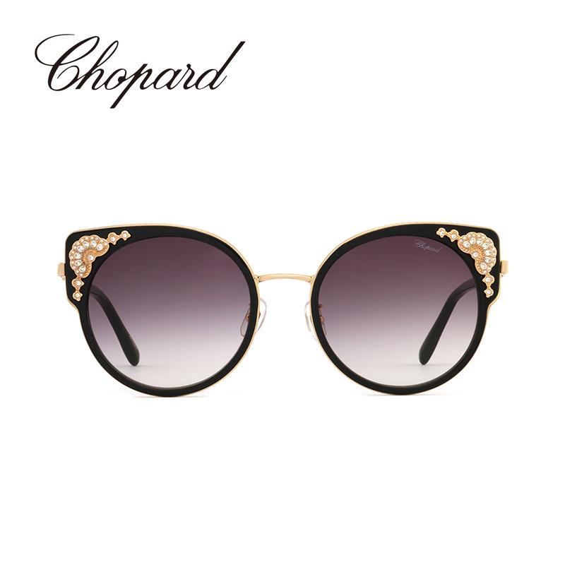 意大利Chopard/萧邦金属奢华水钻时尚女士猫眼墨镜渐变太阳眼镜SCHC82G