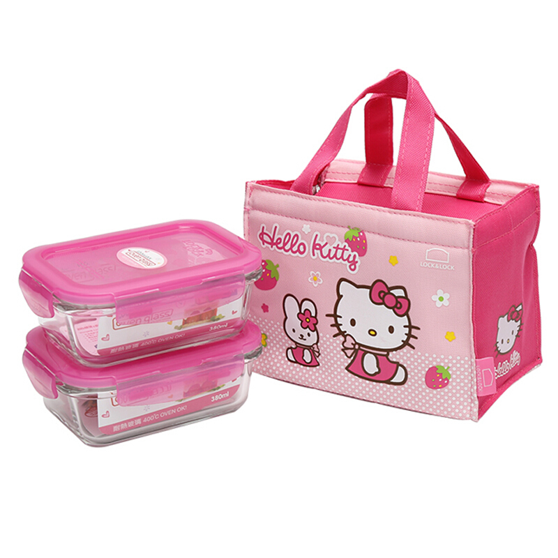 乐扣乐扣 耐热玻璃保鲜盒两件套装LLG422S2-PKT(380ml*2)粉色