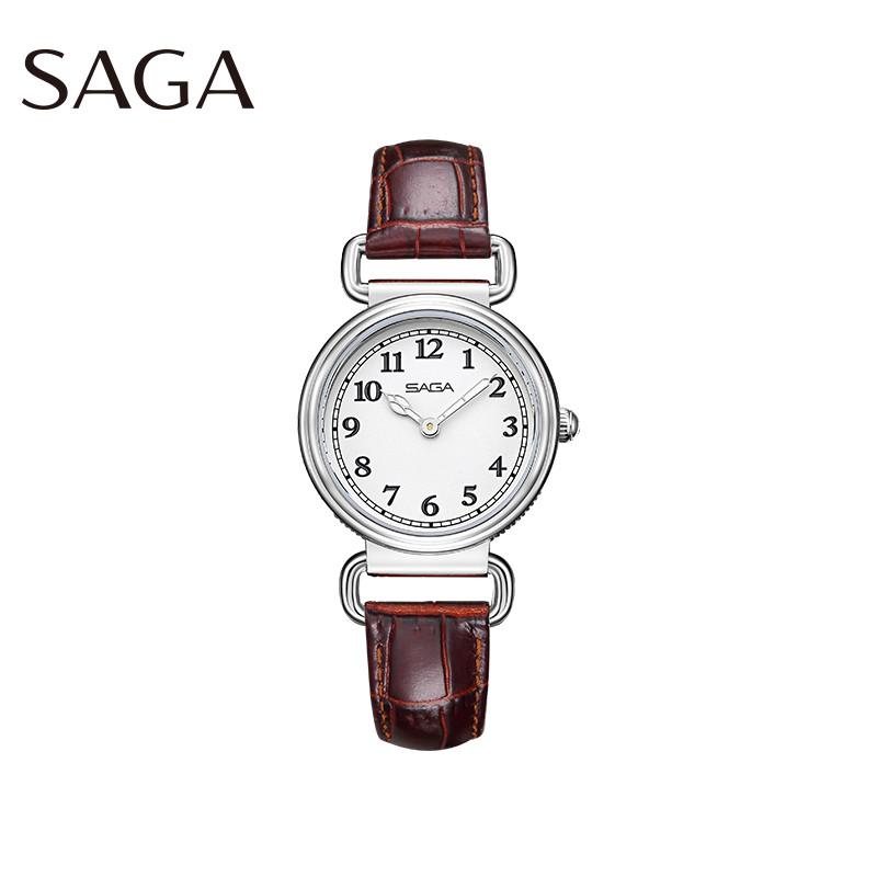 SAGA世家表 经典情怀玲珑小巧可爱休闲轻奢圆形小表盘防水女士石英皮带钢带手表送女友