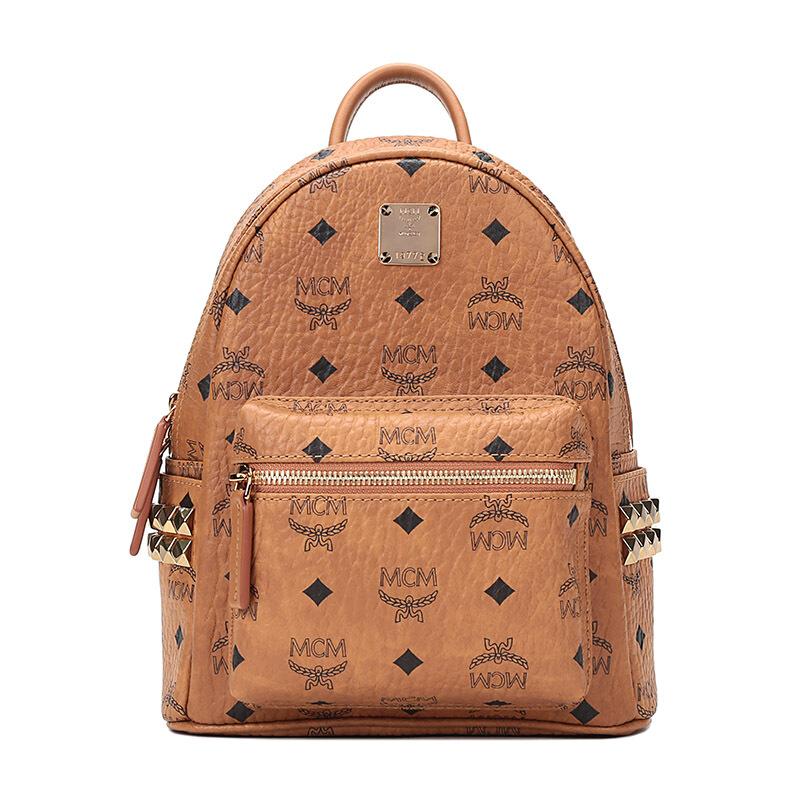 MCM 女包女士经典棕色铆钉LOGO双肩包学生包背包