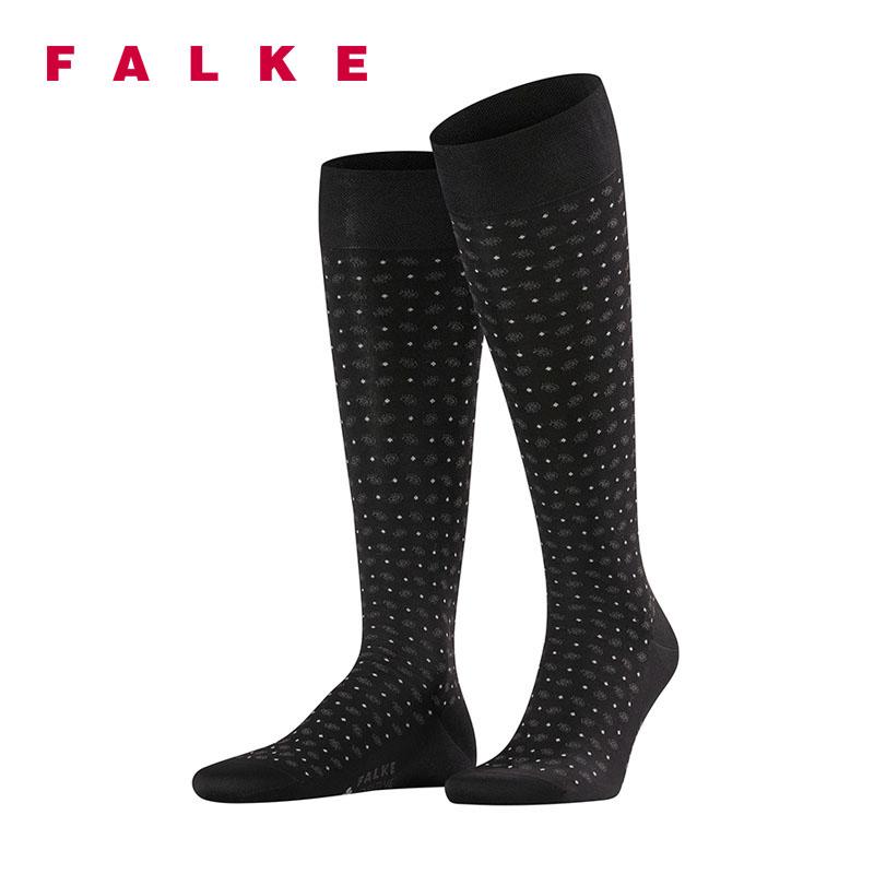 FALKE德国正品Sens Jabot 男士高筒及膝棉袜商务正式圆点15746