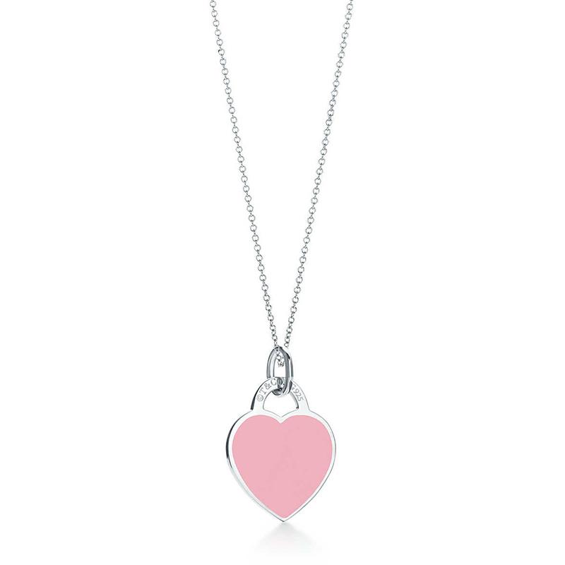 Tiffany&Co./蒂芙尼 Return to Tiffany系列 925银 时尚粉色珐琅心形小号吊坠项链