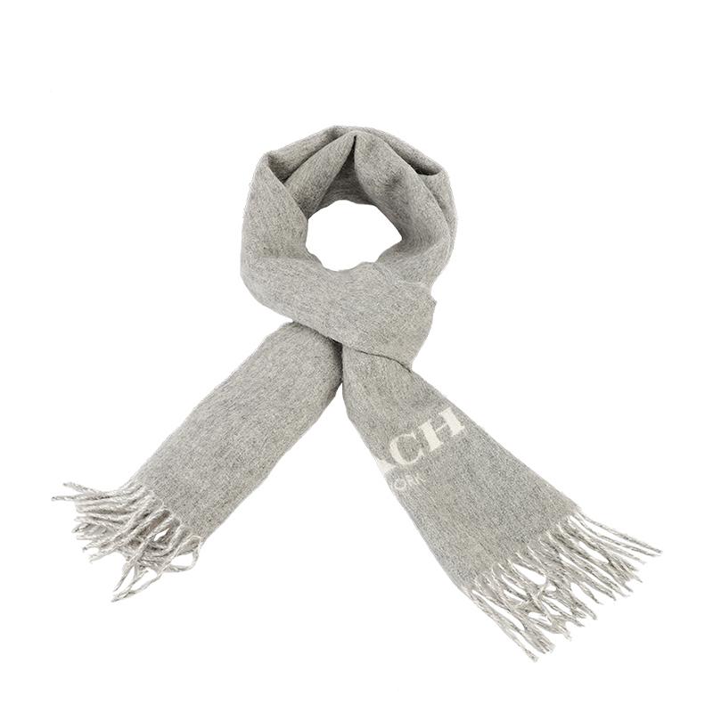 COACH 蔻驰 奢侈品 男士灰色羊毛材质长款围巾 F56209 LF7
