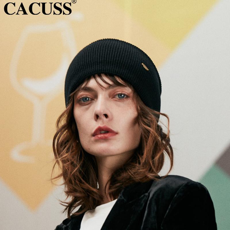 CACUSS秋冬帽子男女包头护耳保暖针织帽纯色卷边套头毛线帽