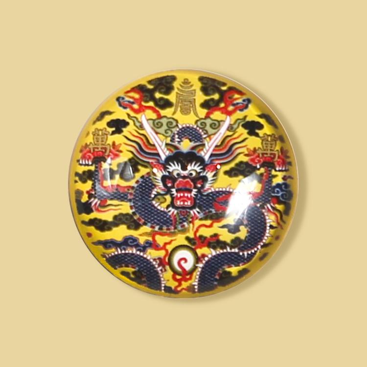 宮廷紋飾冰箱貼-金地彩云藍龍紋飾