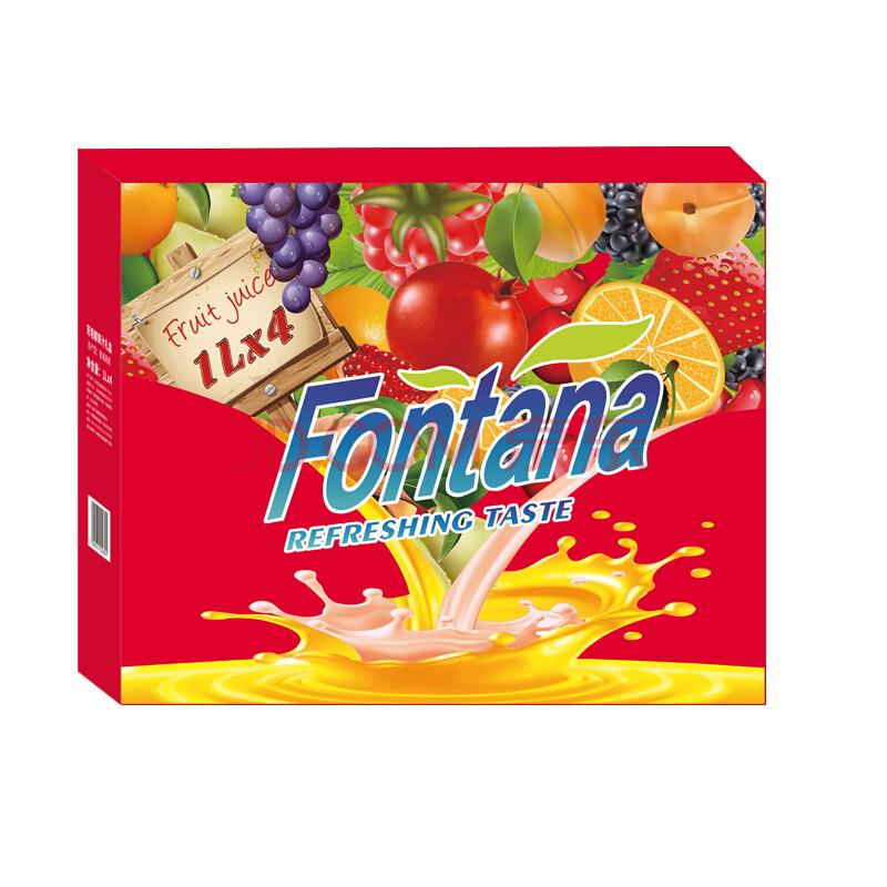 地中海塞浦路斯进口 芳塔娜(Fontana)四种口味100%果汁 1L*4瓶 果汁饮料 礼盒装,芳塔娜(Fontana)