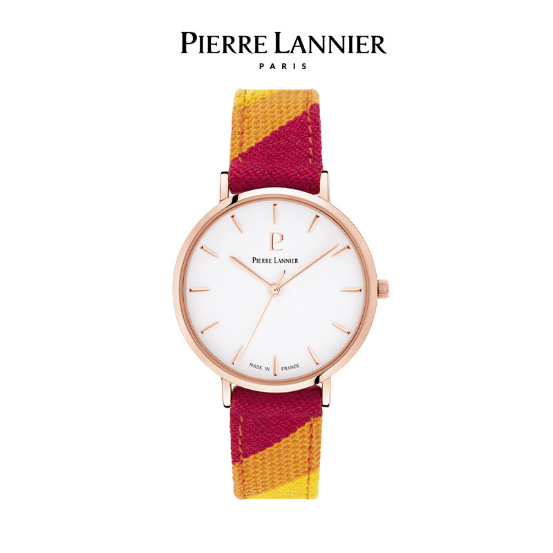 连尼亚(PIERRE LANNIER)法国PL女士手表 Catalane彩虹时光系列36mm编织彩色布表带石英女表太阳红191F925