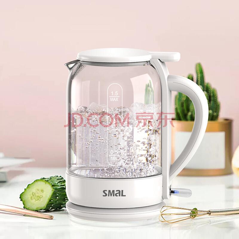 西摩(SMAL)电水壶热水壶电热水壶高硼硅玻璃透明壶身自动断电1.5L容量 烧水壶WK-1811JD,西摩(SMAL)