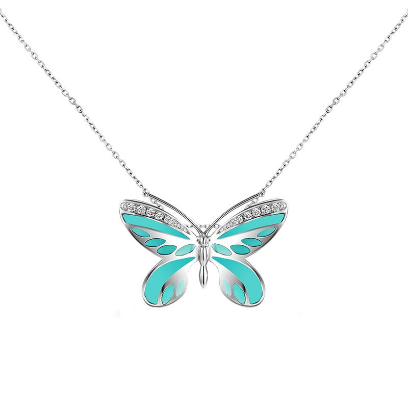 【美國】MYFD 925銀 女士藍蝴蝶項鏈MYN16219