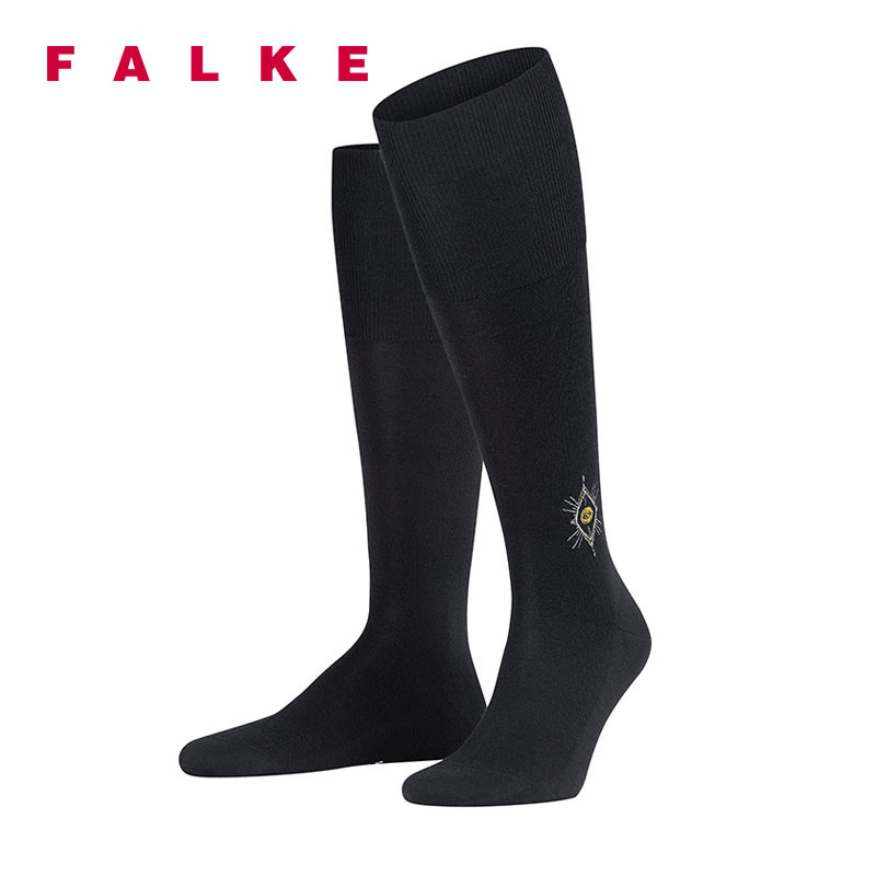 FALKE商务男袜及膝OccultElite神秘精英时尚刺绣纹章羊毛袜15700