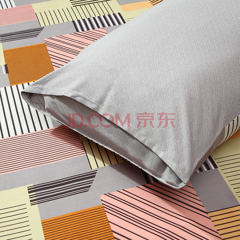 富安娜家纺 圣之花三件套磨毛套件床单被套 单人学生宿舍床上用品 欢遇时光 灰色1.2m(152*210cm),富安娜(FUANNA)
