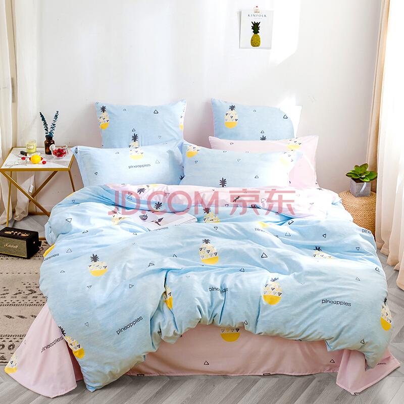 多喜爱(Dohia)床品套件 ins风水洗舒柔印花三件套 床单款 甜心菠萝 1.2米床 152*218cm,多喜爱(Dohia)