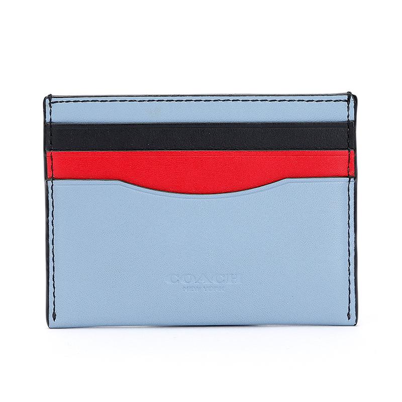 蔻驰 COACH 女士专柜款皮革卡包卡夹蓝色拼色 55721 DKLMP
