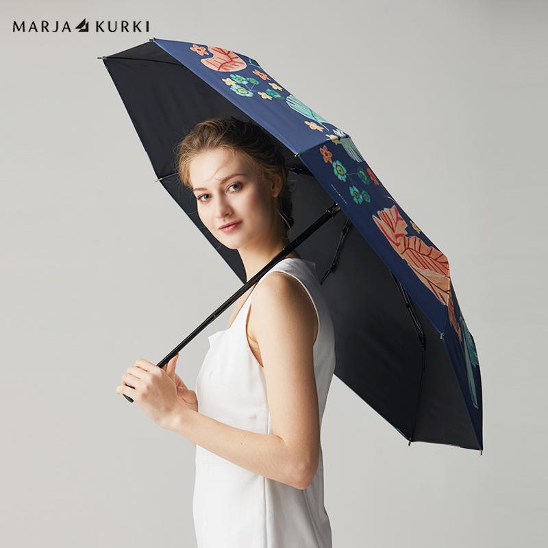 玛丽亚.古琦(MARJA KURKI)晴雨伞 欧美风晴雨两用黑胶超轻伞布自动遮阳伞女 礼盒装 热带丛林9HH637048 蓝