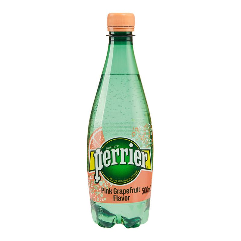 法国原装进口 巴黎水(Perrier)气泡矿泉水 西柚味含气天然矿泉水 500ml*24瓶(塑料瓶瓶)整箱