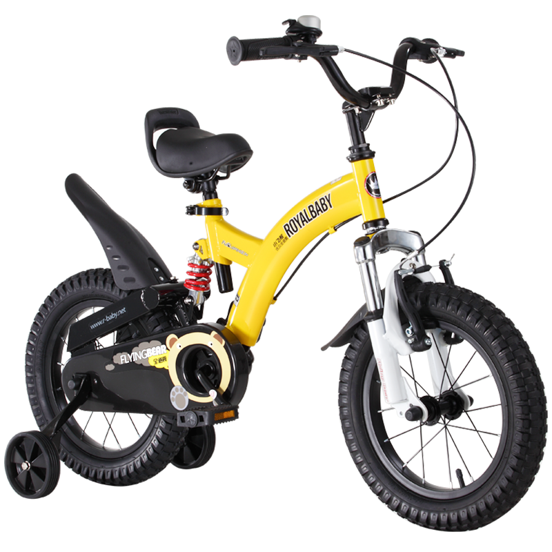 优贝(RoyalBaby)儿童自行车 单车男女小孩童车 避震型宝宝脚踏车山地车3岁-9岁 小飞熊12寸 黄色