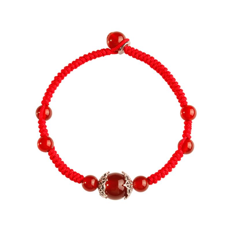 石頭記錦上添花紅瑪瑙手鏈女銀手串 編織水晶紅繩手鏈禮物