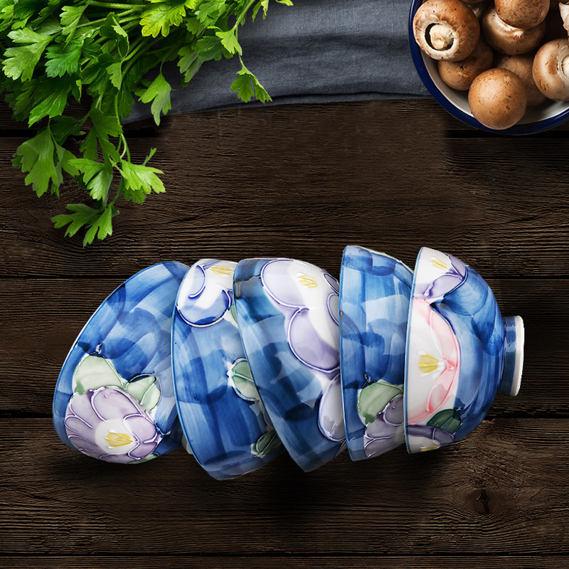 Mino Yaki 美浓烧 日本进口 手绘陶瓷饭碗五件套