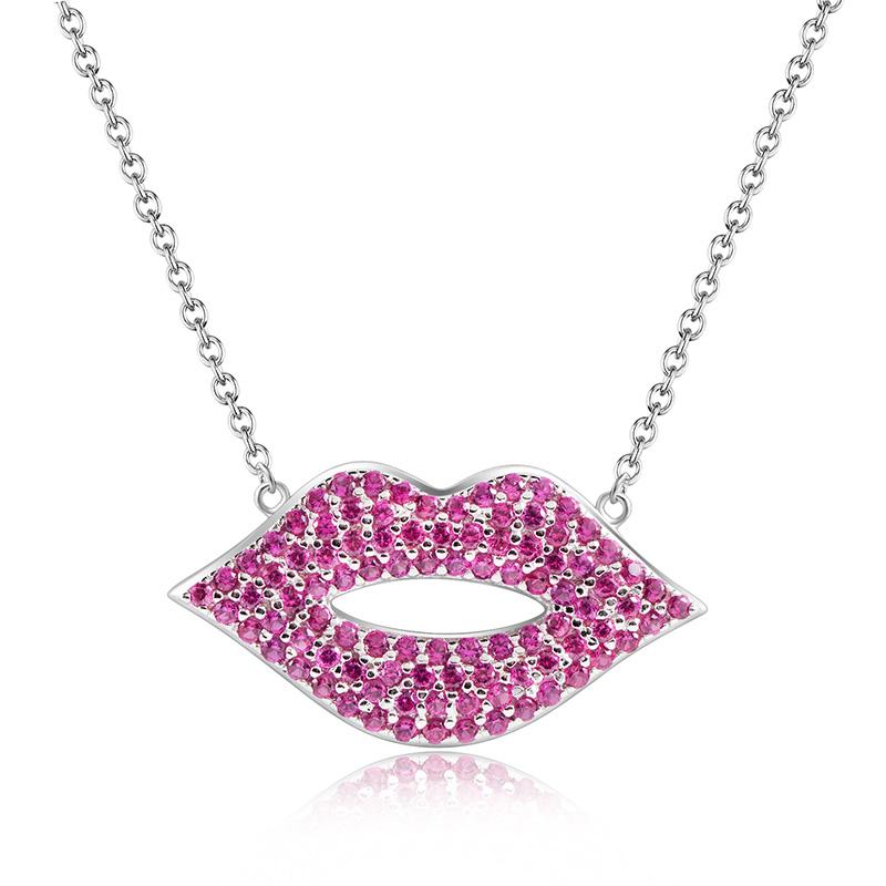 【美国】MY FASHION DESIGN 925银 镶嵌锆石 自由真我系列 粉色嘴唇项链
