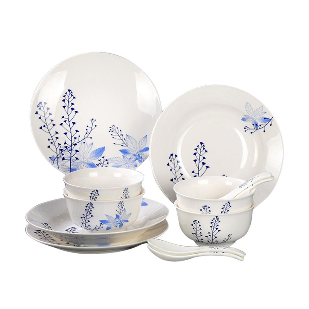 晶彩康宁碗碟套装青花瓷12件套