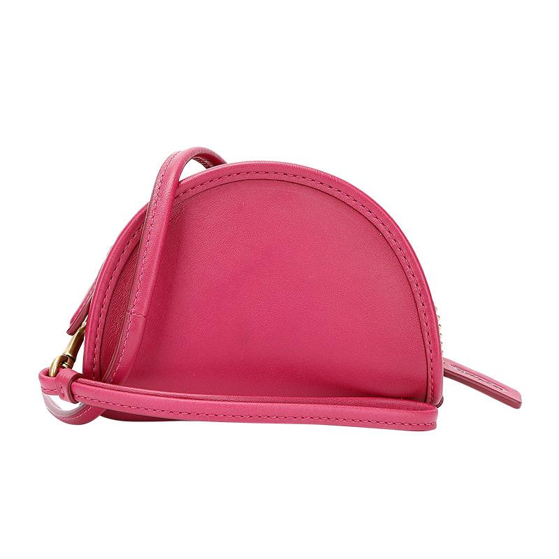 蔻驰 COACH 奢侈品 女士专柜款皮革半月形零钱包单肩斜挎包手拎包迷你枚红色 305 B4PXV