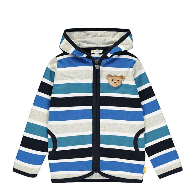Steiff男童針織開襟衫 德國進口 男嬰拉鏈藍色條紋帽衫外套