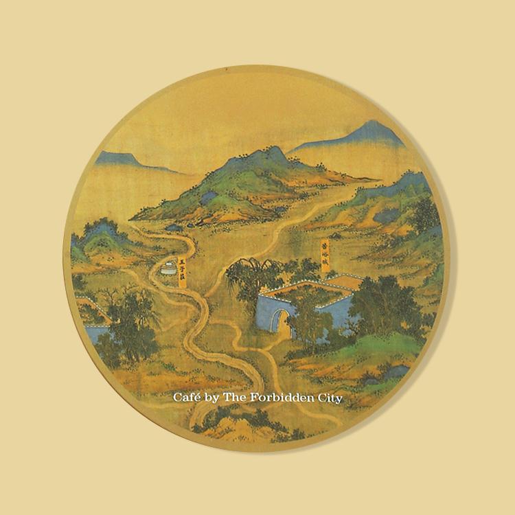 宮廷紋飾杯墊-絲路山水地圖