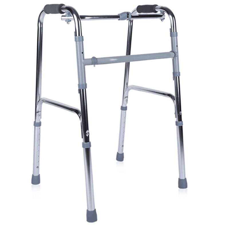 AUFU佛山东方 框式可折叠 高度可调铝合金助行器 便携式老人助步器助行架残疾人四脚拐杖 支撑学步 铝合金助行器FS913L