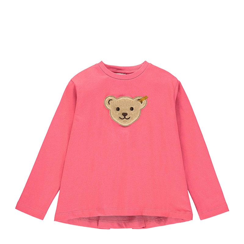 Steiff女嬰針織短袖T恤 德國進口 女嬰粉色長袖小熊T恤