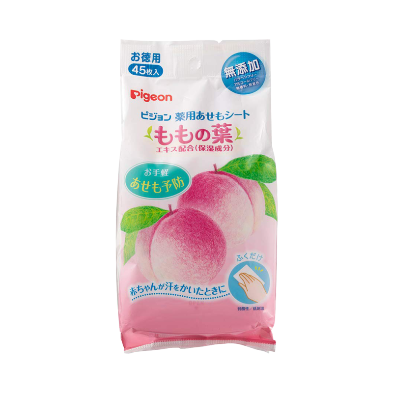 PIGEON 貝親 桃葉精華防痱濕巾 45片