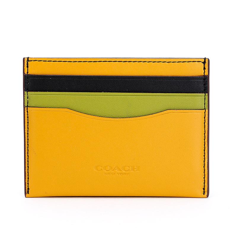 蔻驰 COACH 女士专柜款皮革卡包卡夹黄色拼色 55721 DKLC1