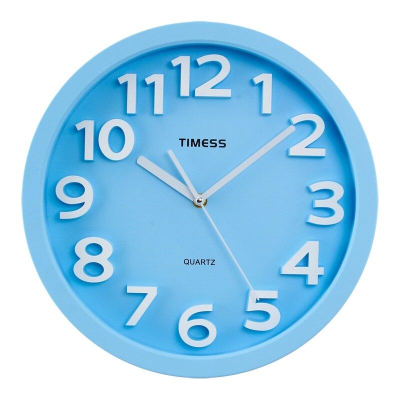 TIMESS挂钟 创意静音客厅书房挂钟立体凸字刻度钟面耐用T66蓝色