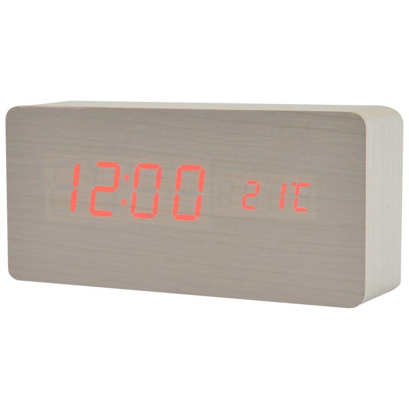 TIMESS闹钟创意闹铃木头钟家居温度显示声控功能时钟表NSD-5020白皮红灯