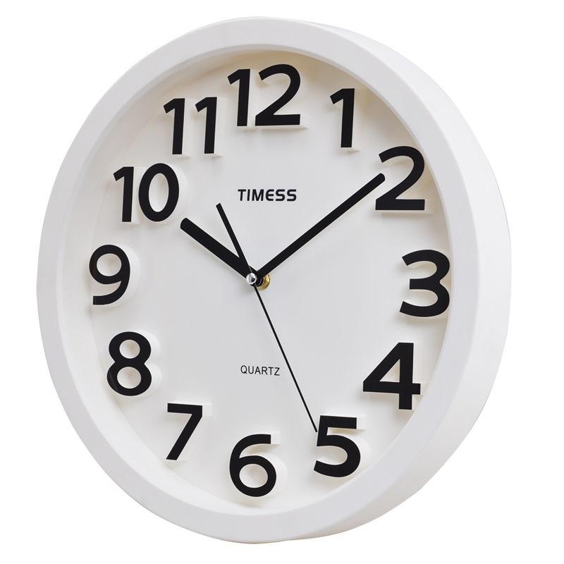 TIMESS挂钟 创意静音客厅书房挂钟立体凸字刻度钟面耐用T66白色