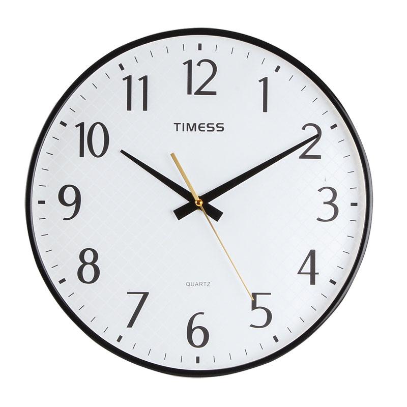 TIMESS创意挂钟卧室客厅静音石英钟3644-1(银蓝黑随机)