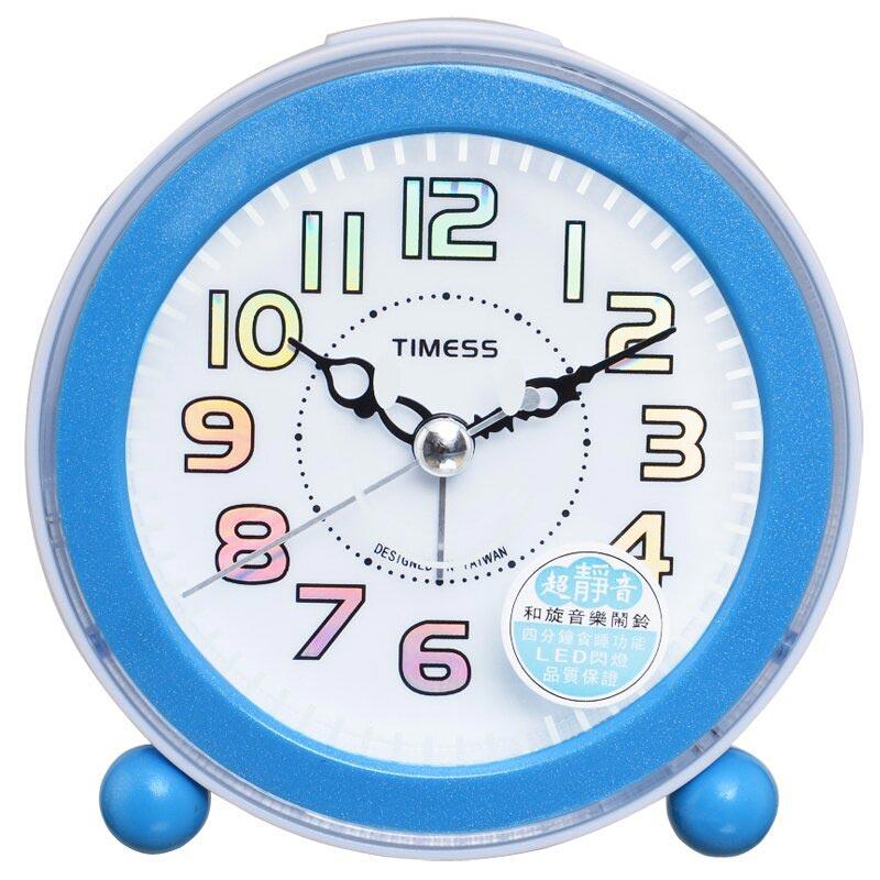 TIMESS闹钟 创意钟面时尚LED闪灯贪睡电子闹钟S 021蓝色