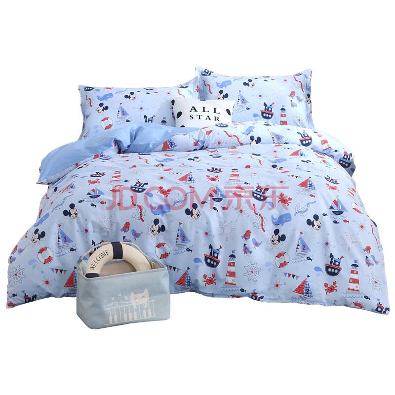 迪士尼(Disney)家纺 纯棉四件套 航海米奇 活性印染 蓝色 1.5米床,迪士尼(Disney)