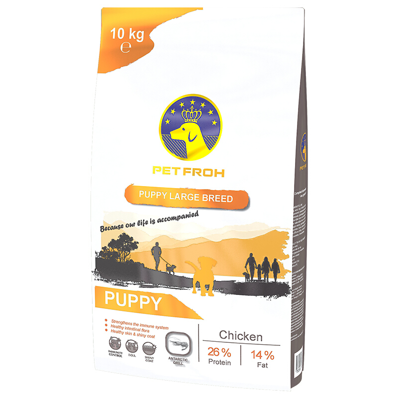 佰芙(PET FROH)比利時原裝進口中大型犬幼犬糧雞肉10kg天然糧金毛/拉布拉多/哈士奇/邊牧進口狗糧