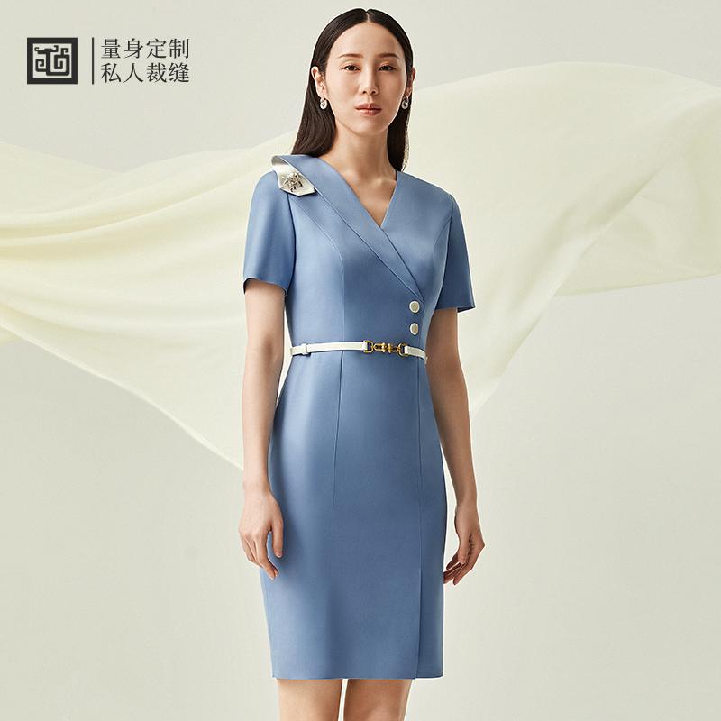 隆庆祥量身定制 21春夏新品 女士时尚修身拼接气质连衣裙