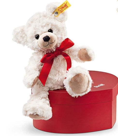 泰迪熊德国steiff奶油白熊爱心礼盒陪伴Sweetheart毛绒玩具 22cm 4001505109904