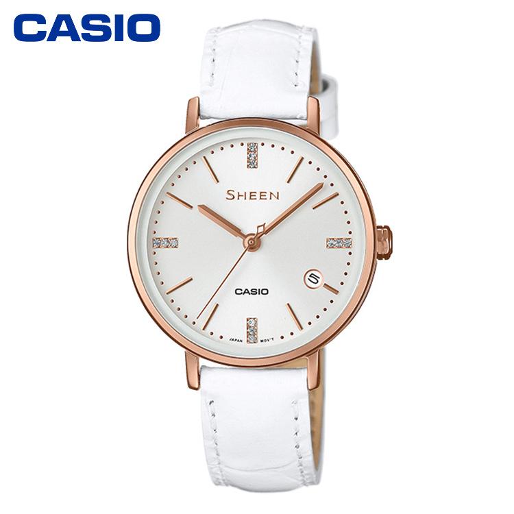 CASIO卡西歐腕間開花女表SHEEN系列SHE-4048系列時尚商務休閑簡約女士手表