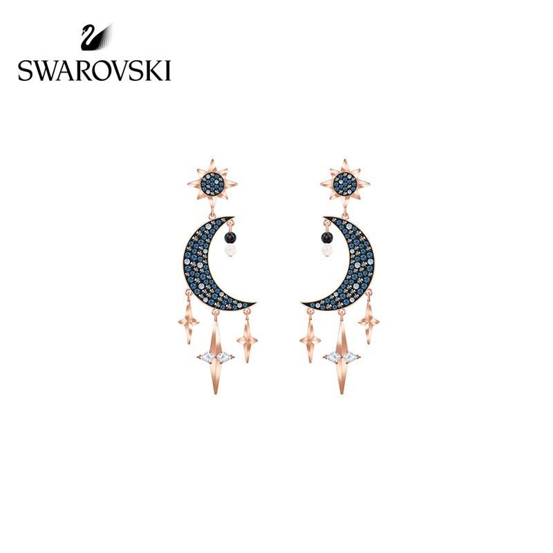 施华洛世奇 SWAROVSKI SYMBOL 神秘星月造型 耳环 耳饰女 礼物 镀玫瑰金色 5489536
