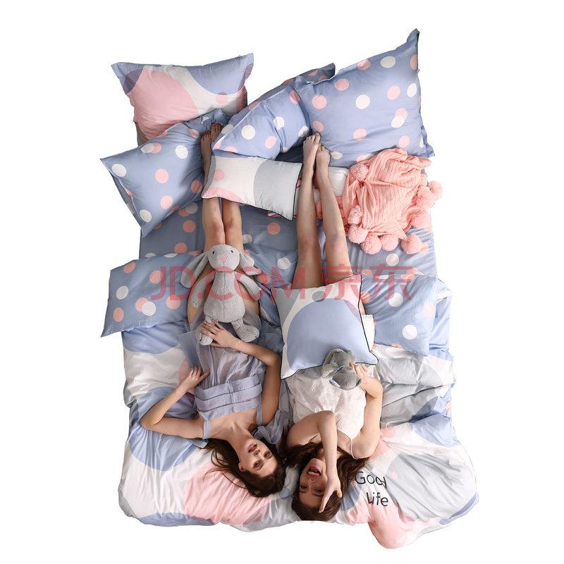 水星家纺 单人学生宿舍三件套纯棉 全棉印花床单被套床上用品套件 彩波点 加大1.2米床,水星(MERCURY)