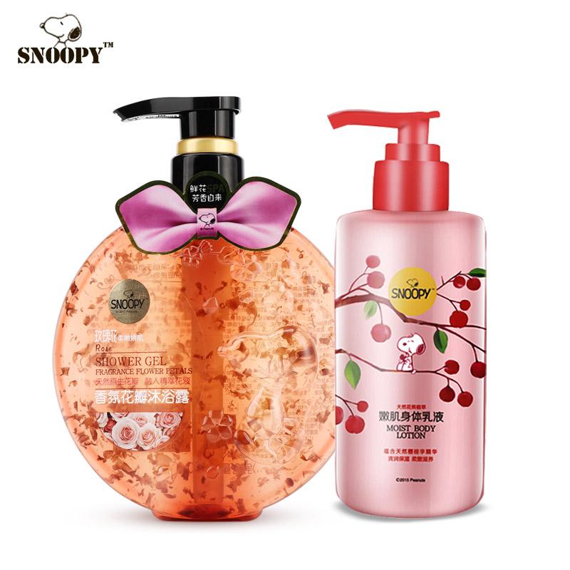 snoopy史努比香氛玫瑰花沐浴露500ml+樱桃嫩肌身体乳液润