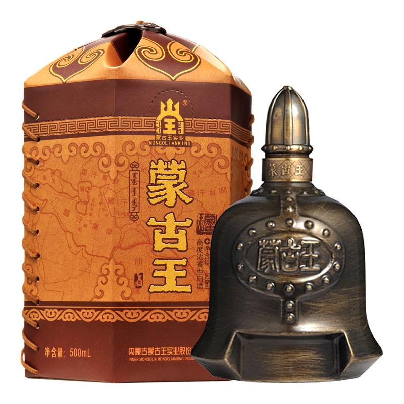 蒙古王52度金帐 单瓶500ml高度浓香粮纯粮固态发酵内蒙古草原特产白酒